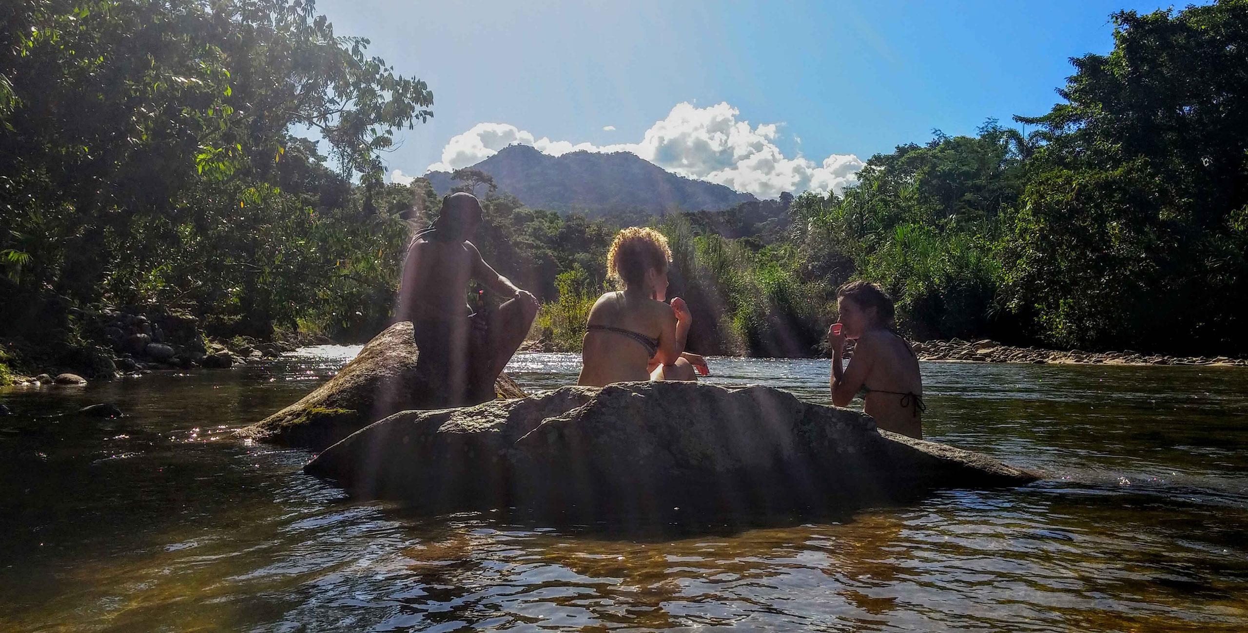 river-chillin in Ecuador