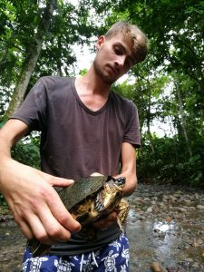 Student with sweet water turtle