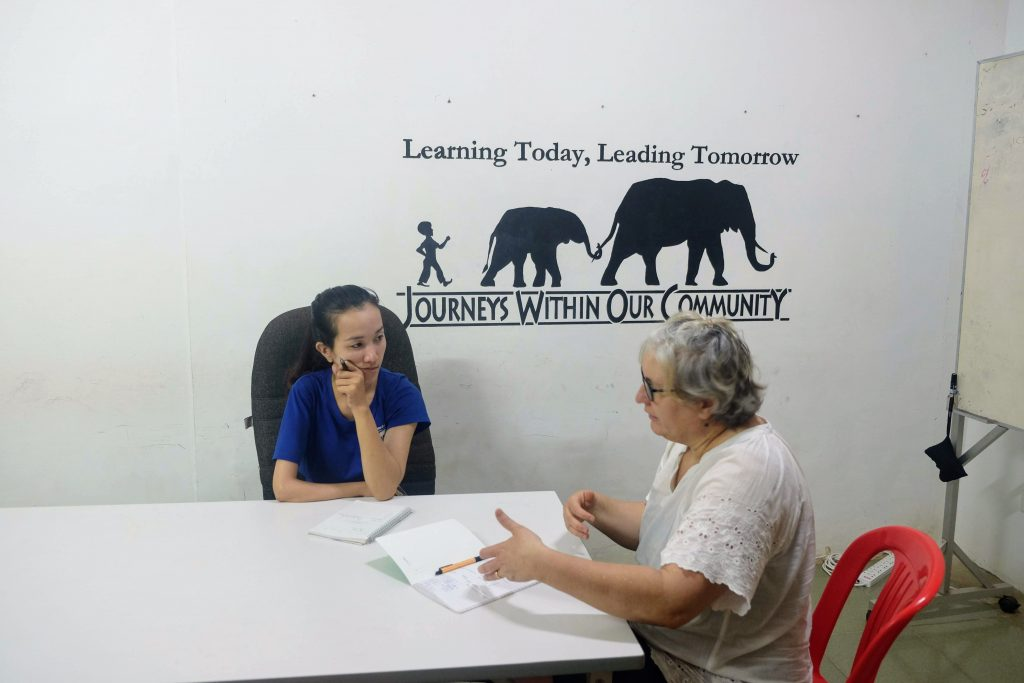 Joelle on the project in Cambodia